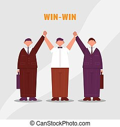 Referee raises two hands of businessmen. Win to Win. Color vector cartoon illustration.