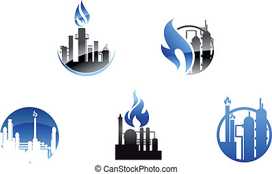 Refinery factory icons and symbols for industry design