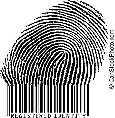 Registered Identity - Fingerprint becoming barcode (vertor format)