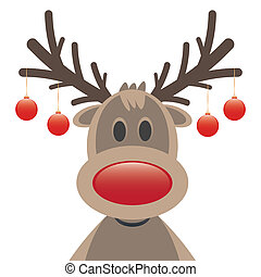 reindeer red nose and christmas balls