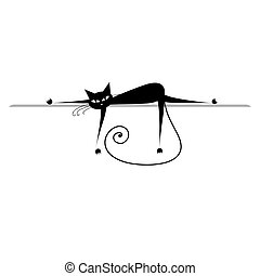 Relax. Black cat silhouette for your design