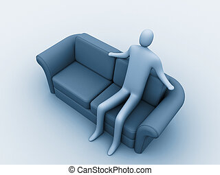 3d person sitting on a sofa.