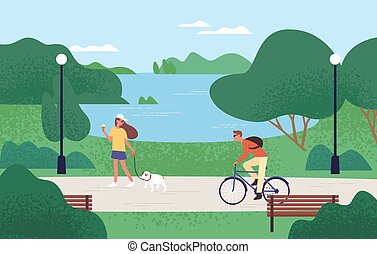 Relaxed people enjoying recreational outdoor activities at summer forest park vector flat illustration. Woman eating ice cream and walking with dog, man riding on bike. Beautiful natural landscape