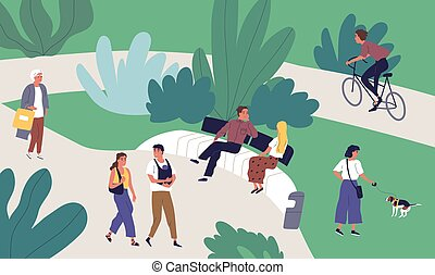 Relaxed tiny people enjoying summer outdoor recreational activity vector flat illustration. Man, woman, couple and family walking, talking, riding bicycle, spending time together at urban park