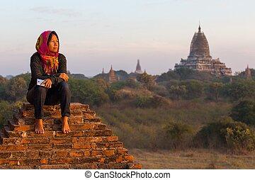 Relaxing at sunset in Myanmar