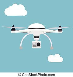 Remote air drone with a camera flying in the sky