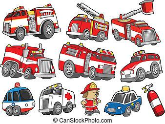 Rescue Vehicle Transportation Vector Illustration Set