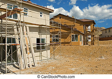 New residential construction in a subdivision of a new community