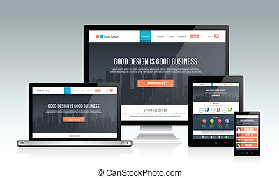Modern responsive website design concept with multiple device.