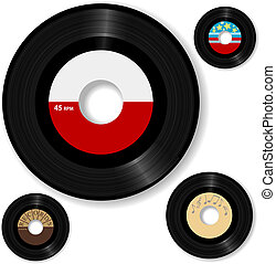 Retro 45 RPM record: with sample designs, create your own oldies music label.