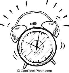 Doodle style retro alarm clock illustration in vector format suitable for web, print, or advertising use.