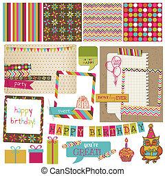 Retro Birthday Celebration Design Elements - for Scrapbook, Invitation in vector