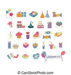 Retro Birthday Party Element Set