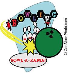 retro bowling illustration