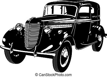 retro car detailed silhouette. Available EPS-8 vector format separated by groups and layers for easy edit
