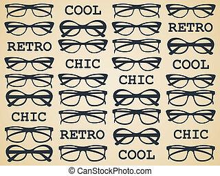 Illustration of glasses in vintage style.