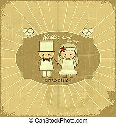 Retro Design Wedding Card
