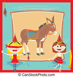 Retro Donkey Party Invitation
