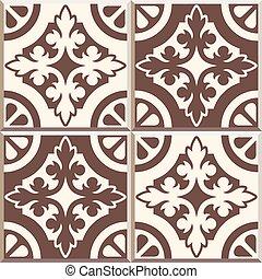 Retro Floor Tiles patern, set of four patterns