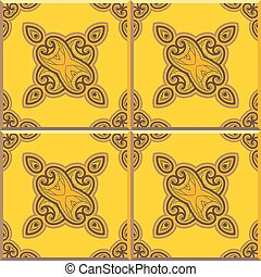 Retro Floor Tiles patern, yellow and brown