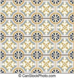 Retro Floor Tiles seamless vector patern, vintage colors