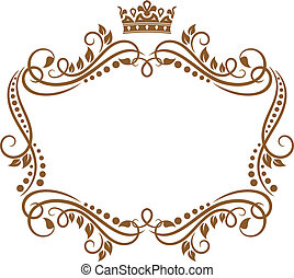 Retro frame with royal crown and flowers for wedding or heraldry design