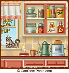 Retro kitchen with various foods and a kitten on the windowsill. Vector illustration in woodcut style with clipping mask.