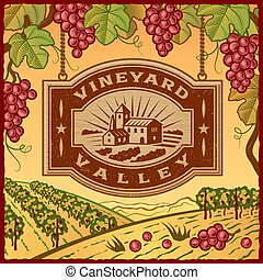 Retro landscape with Vineyard Valley sign in woodcut style. Vector illustration with clipping mask.