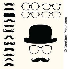 Set of retro mustaches hat glasses