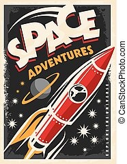 Retro poster with space ship rocket