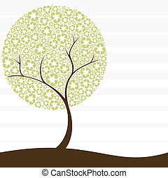Conceptual illustration of a tree with recycling symbol leaves. Graphics are grouped and in several layers for easy editing. The file can be scaled to any size.