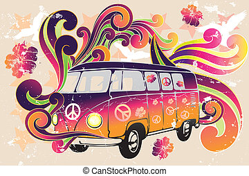 Retro van - flower power - van with colorful swirls, doves, peace signs and hibiscus as a vintage retro poster