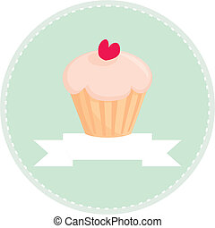 Sweet retro cupcake with heart on mint green background and white place for your own text. Button, logo or invitation card -vector illustration