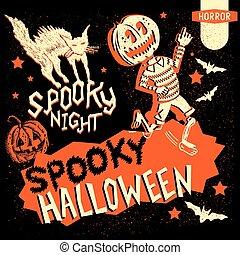 Retro Vintage Halloween Elements