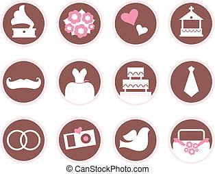 Retro wedding design elements and icons isolated on white