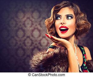 Retro Woman Portrait. Surprised Lady. Vintage Styled Photo