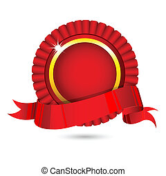 illustration of ribbon badge on white background