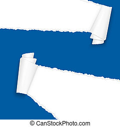 ripped open paper blue