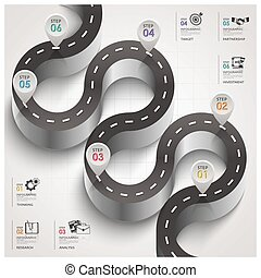 Road And Street Traffic Sign Curve Step Business Infographic
