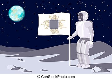 Robot on the moon. Banner with a chip. Blue earth in sky. Vector.