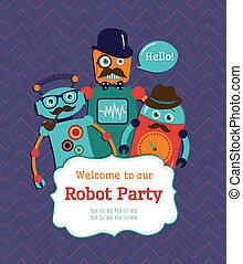 Robot Party Invitation Card Design