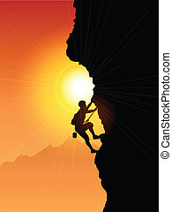 Silhouette of a rock climber against a sunset sky