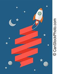 Rocket flying in space with banner