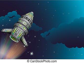 Rocket flying in the dark space