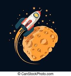 Rocket in space orbits planet like the moon