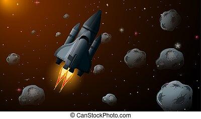 Rocket in space scene