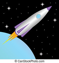 The space rocket flies in a free space.