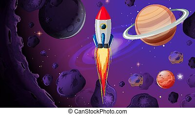 Rocket in the space
