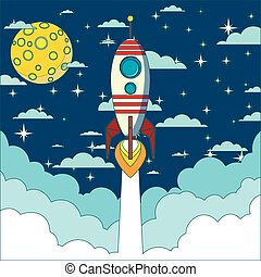 Rocket launch in space vector background