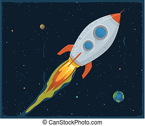 Illustration of a rocket ship flying through outer space